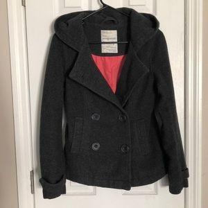 Women's AEROPOSTALE Pea Coat in Dark Grey, size S